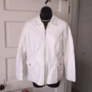Off-white leather blazer